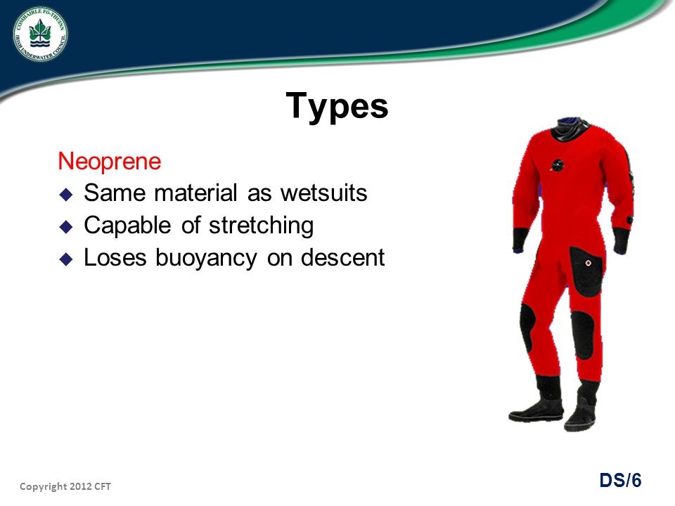 Copyright 2012 CFT DS/17 Establishing Neutral Buoyancy Neoprene suit Needs more weight In upright position, submerge and vent most air Some air required in suit to seal neck No squeeze experienced Neutral buoyancy just below the surface