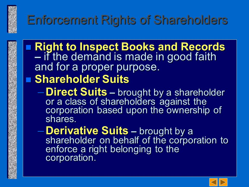Enforcement Rights of Shareholders n Right to Inspect Books and Records – if the demand is made in good faith and for a proper purpose. n Shareholder