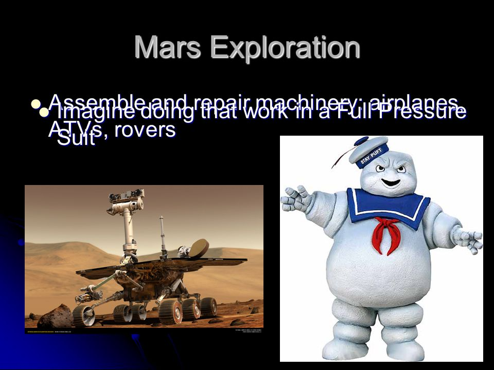 Creation of an Intermediate Environment Allows design of a suit with greater mobility, dexterity, and visibility Allows design of a suit with greater mobility, dexterity, and visibility Mars Homestead Project @ M.I.T.