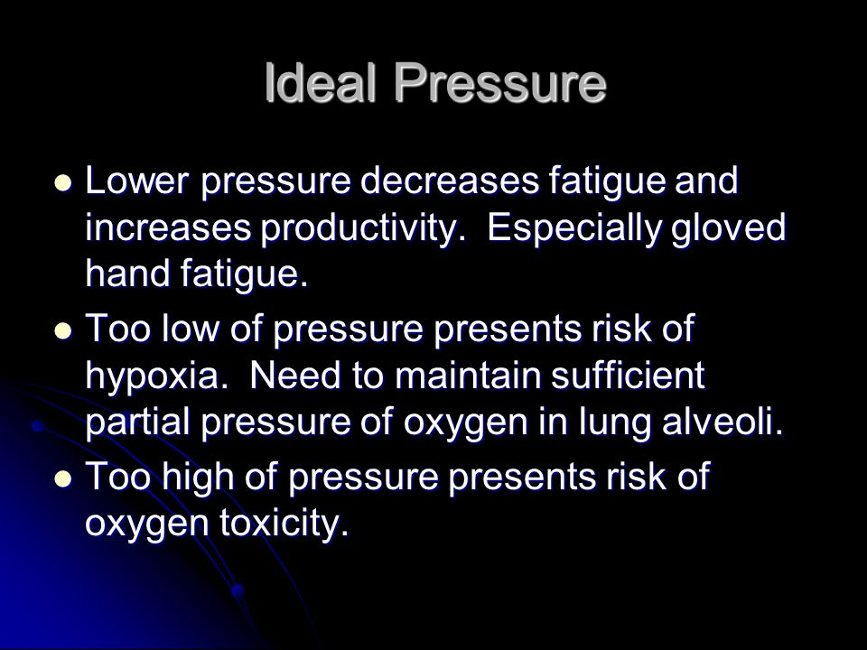 Mixed Gas Composition One approach to avoid oxygen toxicity and flammability hazards is to use a mixed gas suit Drawbacks: More expensive to continually monitor both oxygen and nitrogen partial pressure More expensive to continually monitor both oxygen and nitrogen partial pressure Adds weight and volume Adds weight and volume Increases risk for decompression sickness Increases risk for decompression sickness