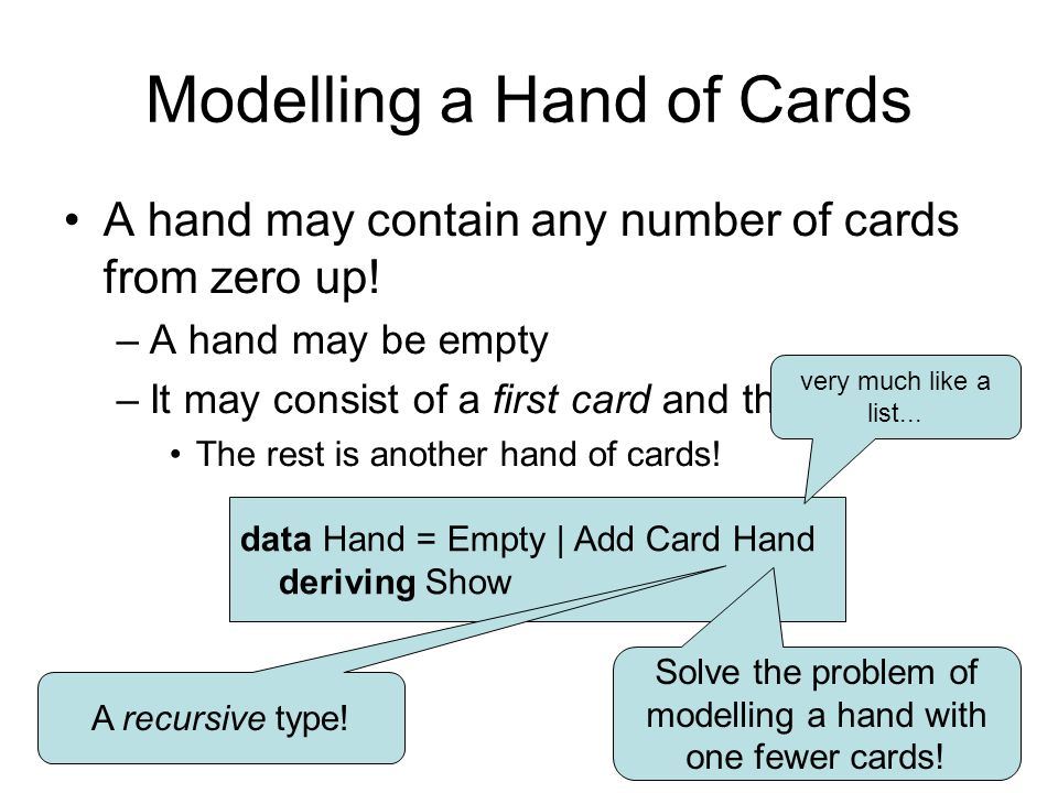 Modelling a Hand of Cards A hand may contain any number of cards from zero up.