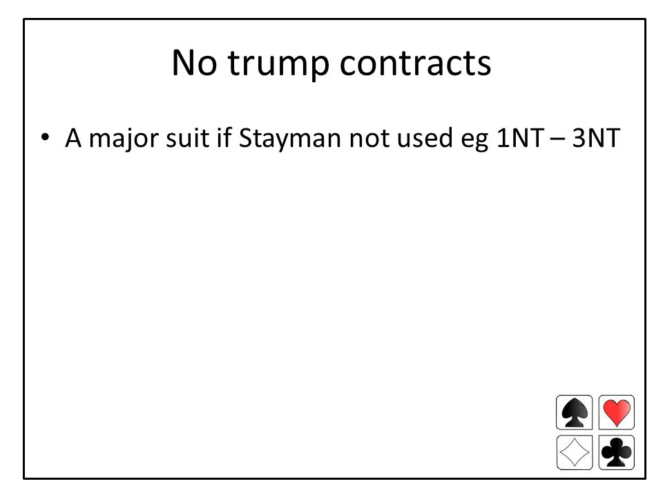 No trump contracts A major suit if Stayman not used eg 1NT – 3NT