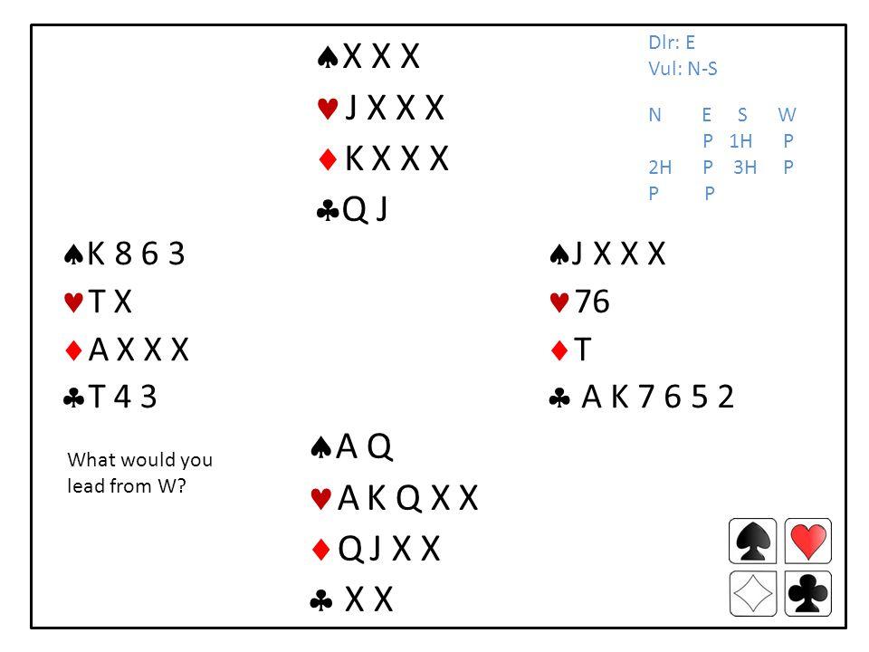 J X X X 76 T A K 7 6 5 2 K 8 6 3 T X A X X X T 4 3 A Q A K Q X X Q J X X X X X X X J X X X K X X X Q J Dlr: E Vul: N-S N E S W P 1H P 2H P 3H P P What would you lead from W