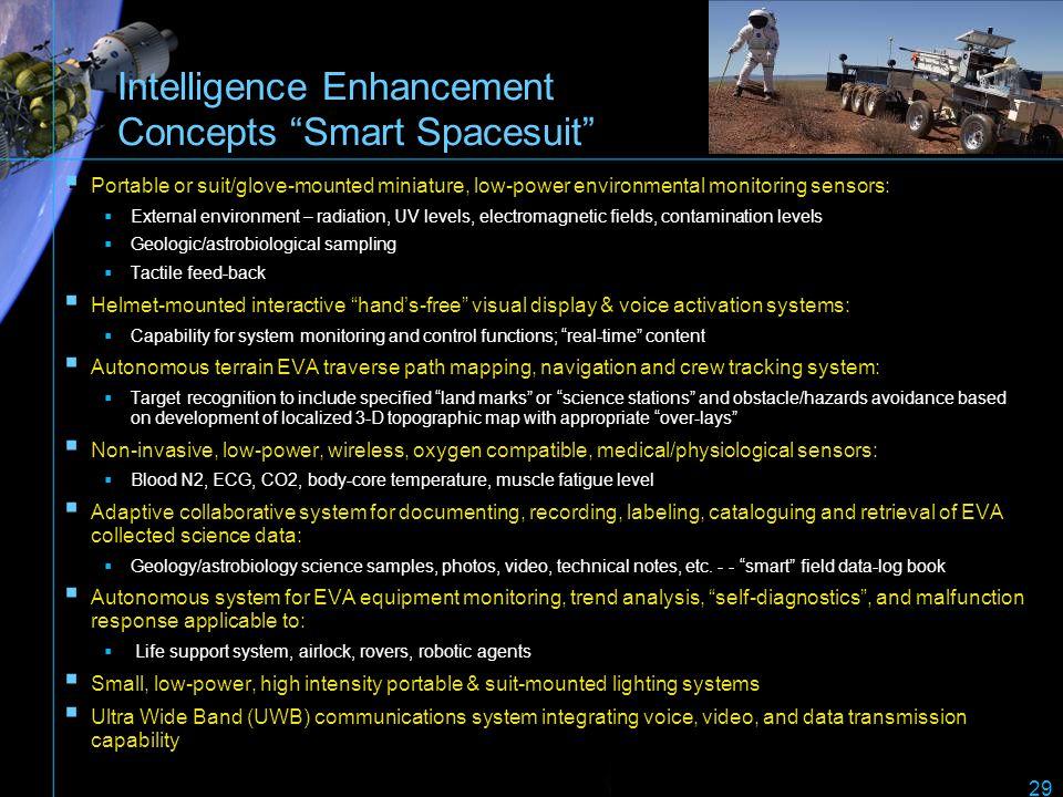 Intelligence Enhancement Concepts Smart Spacesuit Portable or suit/glove-mounted miniature, low-power environmental monitoring sensors: External envir