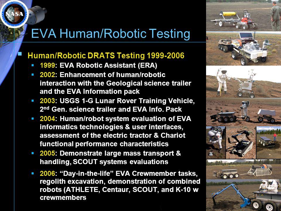EVA Human/Robotic Testing Human/Robotic DRATS Testing 1999-2006 1999: EVA Robotic Assistant (ERA) 2002: Enhancement of human/robotic interaction with
