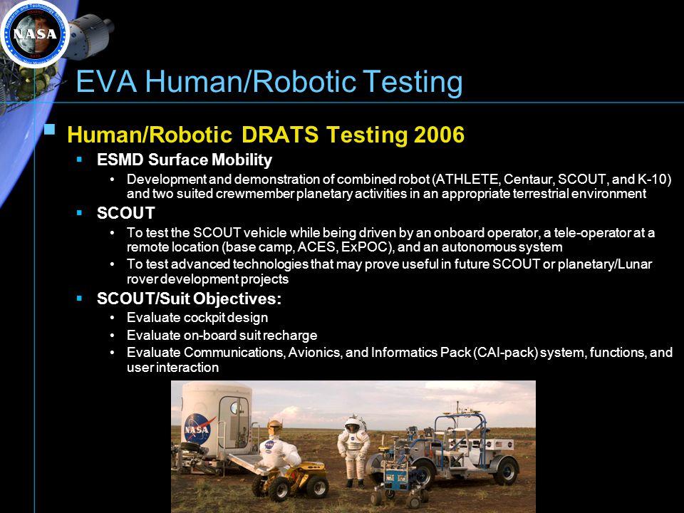 EVA Human/Robotic Testing Human/Robotic DRATS Testing 2006 ESMD Surface Mobility Development and demonstration of combined robot (ATHLETE, Centaur, SC