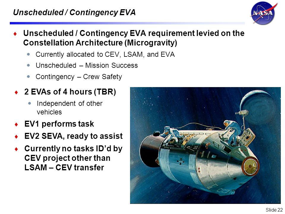 Slide 22 Unscheduled / Contingency EVA Unscheduled / Contingency EVA requirement levied on the Constellation Architecture (Microgravity) Currently allocated to CEV, LSAM, and EVA Unscheduled – Mission Success Contingency – Crew Safety 2 EVAs of 4 hours (TBR) Independent of other vehicles EV1 performs task EV2 SEVA, ready to assist Currently no tasks IDd by CEV project other than LSAM – CEV transfer