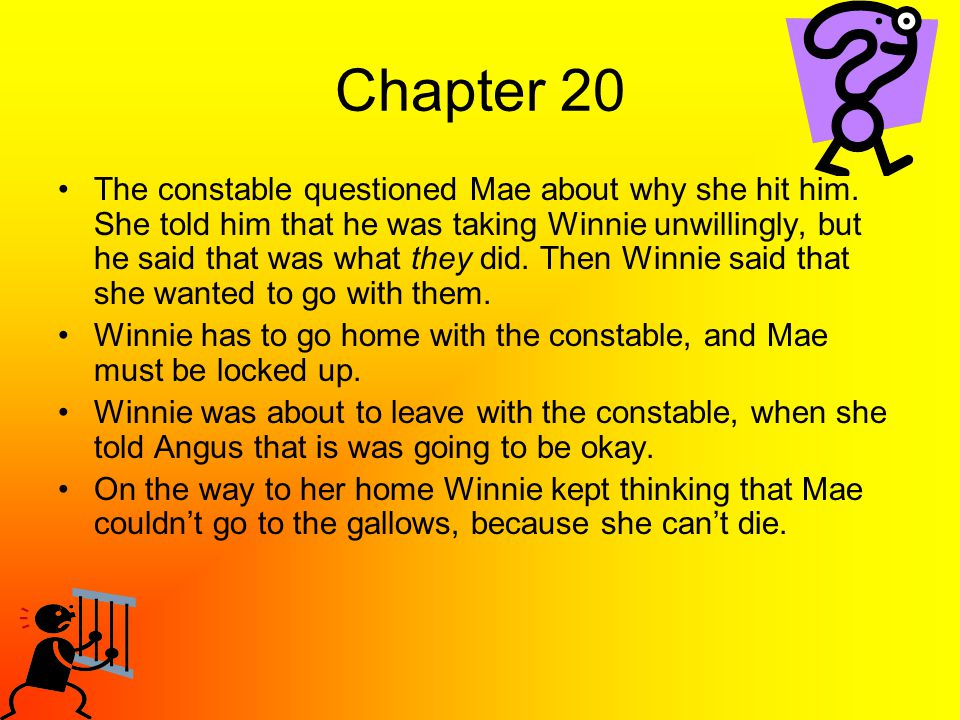 Chapter 20 The constable questioned Mae about why she hit him. She told him that he was taking Winnie unwillingly, but he said that was what they did.