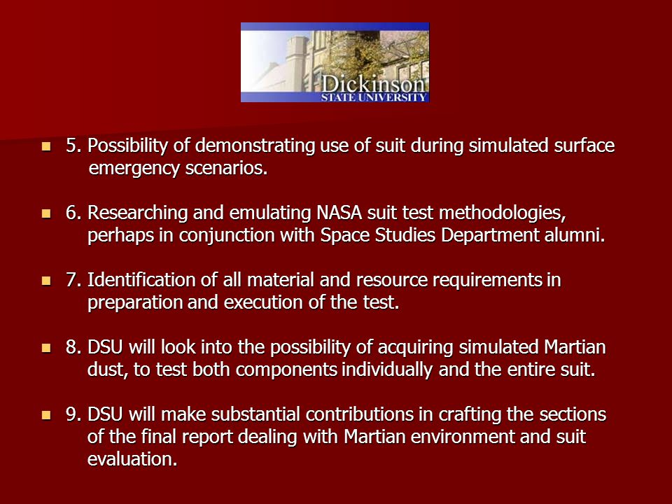 5. Possibility of demonstrating use of suit during simulated surface 5.