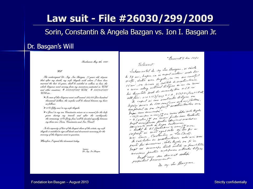 Law suit - File #26030/299/2009 Sorin, Constantin & Angela Bazgan vs.