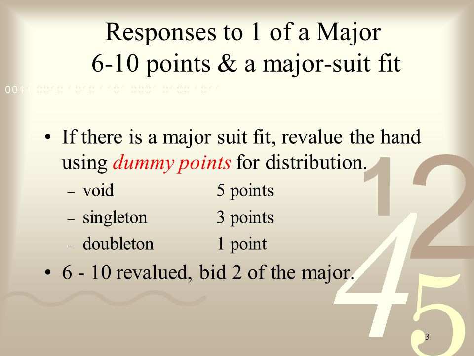 2 Responses to 1 of a suit Sign-off0 - 5pass Invitational6 - 101 level Forcing11+1 or higher Mnemonic: P I G