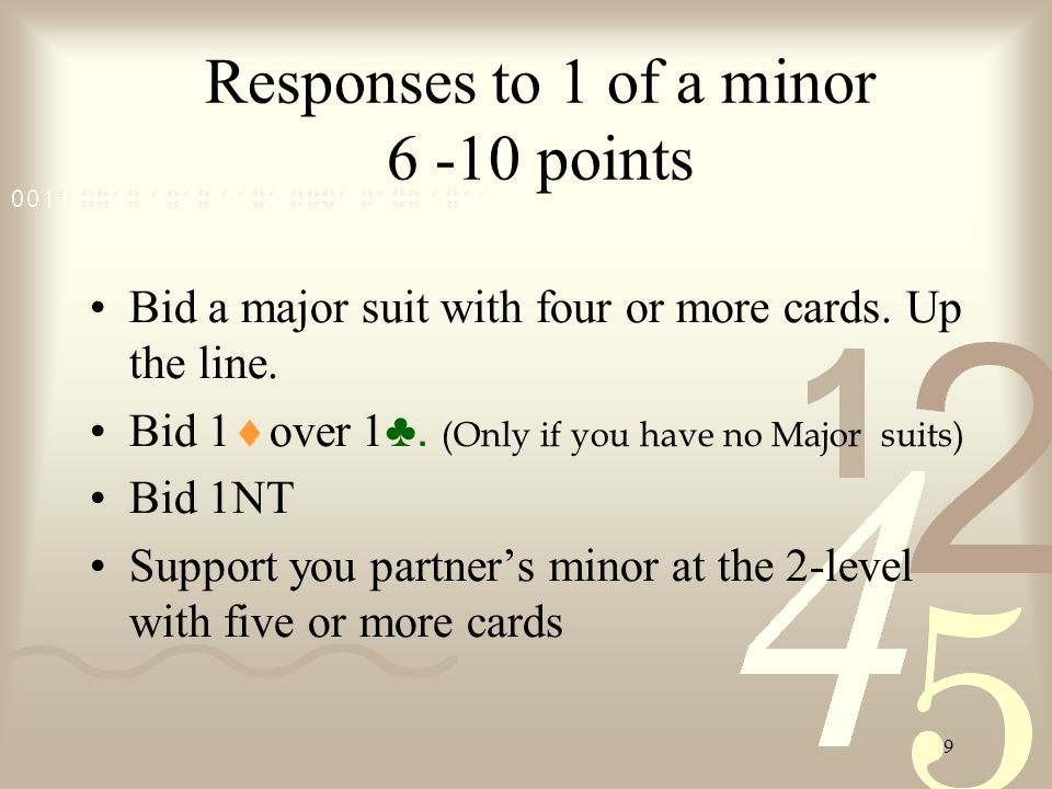 9 Responses to 1 of a minor 6 -10 points Bid a major suit with four or more cards.