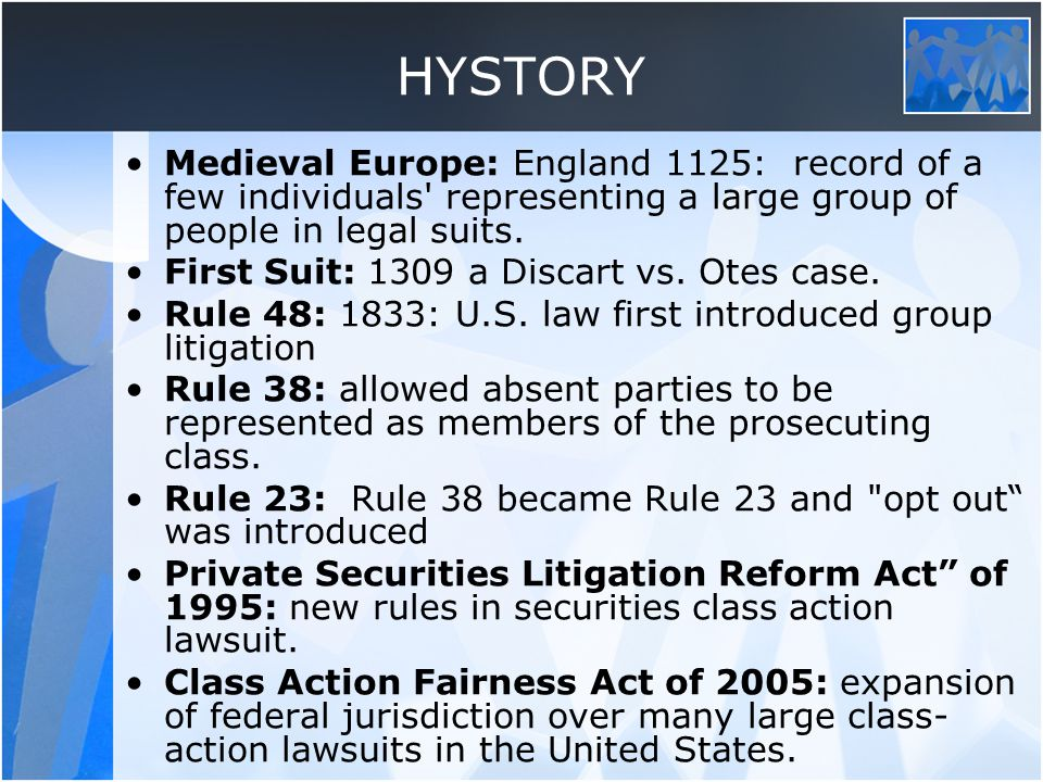 HYSTORY Medieval Europe: England 1125: record of a few individuals representing a large group of people in legal suits.