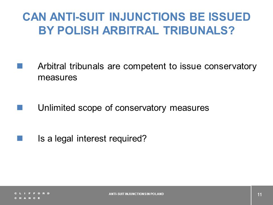 CAN ANTI-SUIT INJUNCTIONS BE ISSUED BY POLISH ARBITRAL TRIBUNALS.