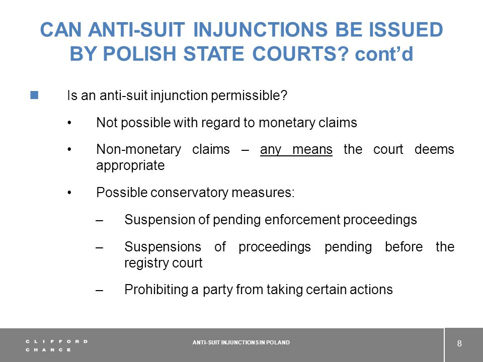 CAN ANTI-SUIT INJUNCTIONS BE ISSUED BY POLISH STATE COURTS.