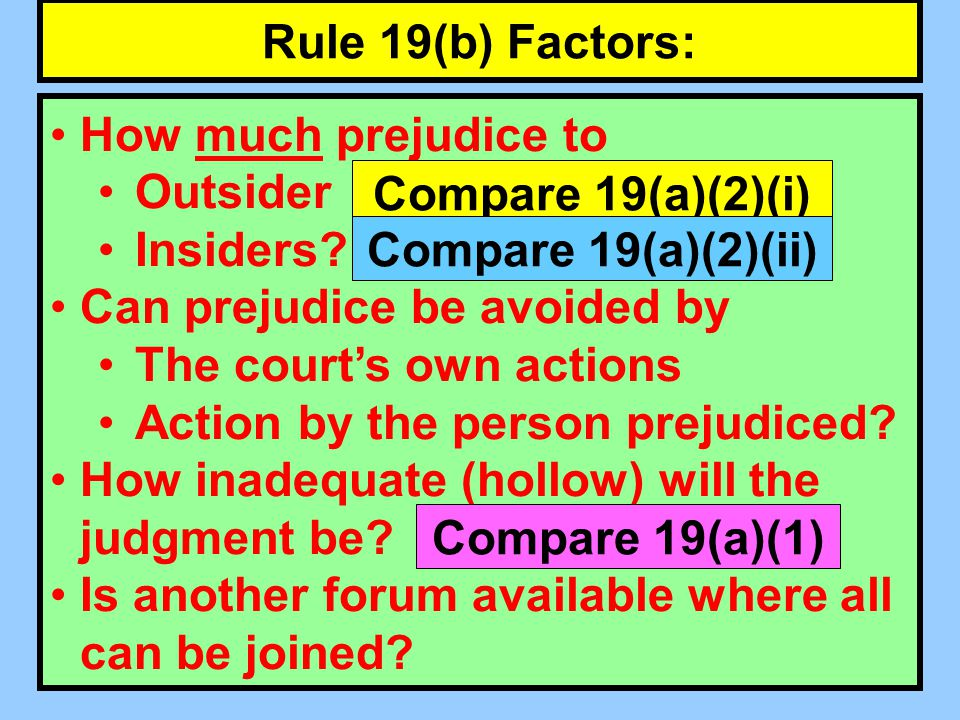 Rule 19(b) Factors: How much prejudice to Outsider Insiders.