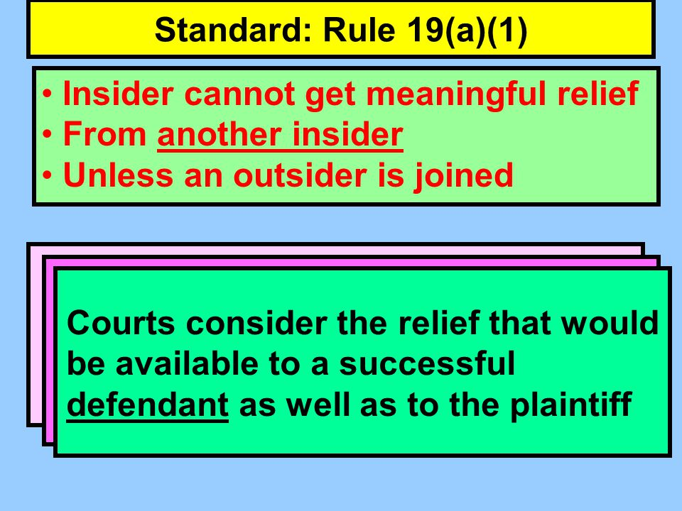 Standard: Rule 19(a)(1) Insider cannot get meaningful relief From another insider Unless an outsider is joined Often a situation in which substantive law forbids entering judgment against one party without entering judgment against another.