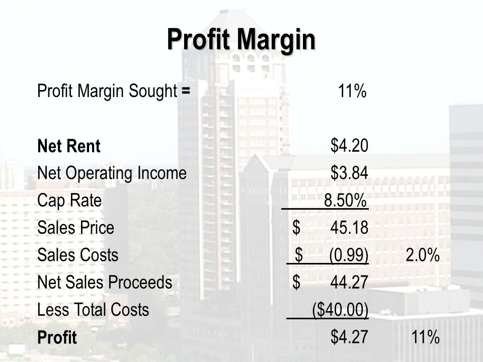 Profit Margin Profit Margin Sought = 11% Net Rent $4.20 Net Operating Income$3.84 Cap Rate 8.50% Sales Price$ Sales Costs $ (0.99)2.0% Net Sales Proceeds$ Less Total Costs ($40.00) Profit $4.2711%