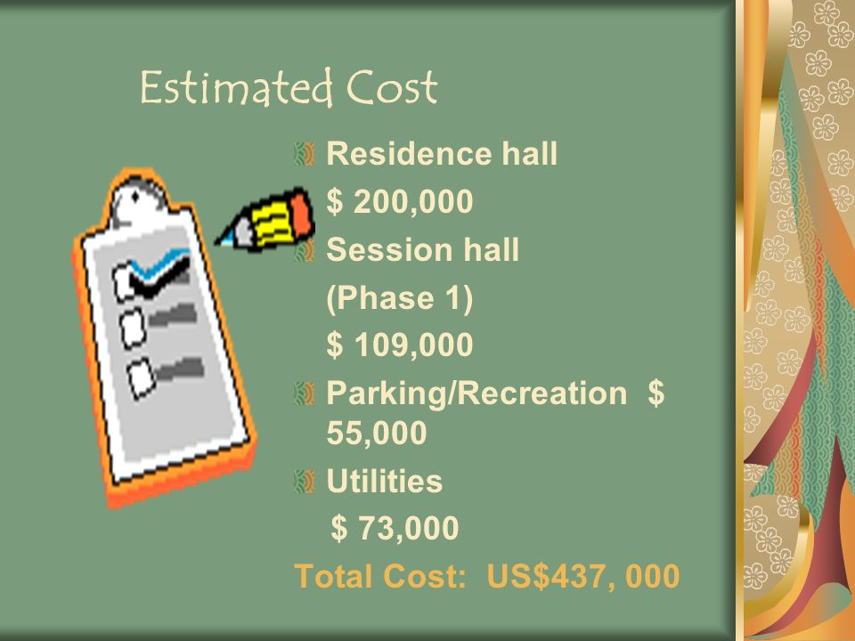 Estimated Cost Residence hall $ 200,000 Session hall (Phase 1) $ 109,000 Parking/Recreation $ 55,000 Utilities $ 73,000 Total Cost: US$437, 000