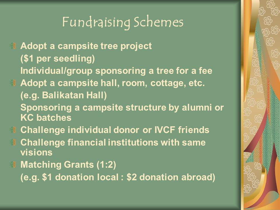 Fundraising Schemes Adopt a campsite tree project ($1 per seedling) Individual/group sponsoring a tree for a fee Adopt a campsite hall, room, cottage, etc.