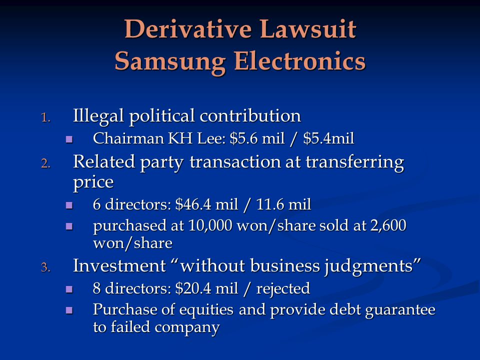 Derivative Lawsuit Samsung Electronics 1.