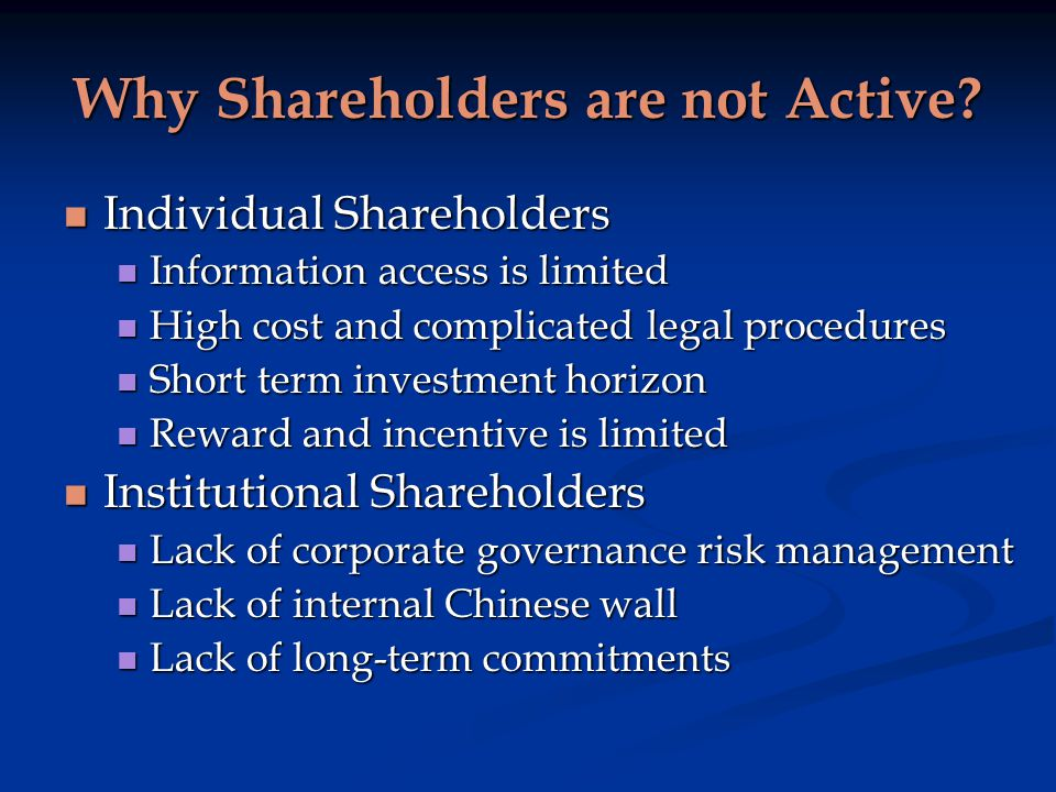 Why Shareholders are not Active.