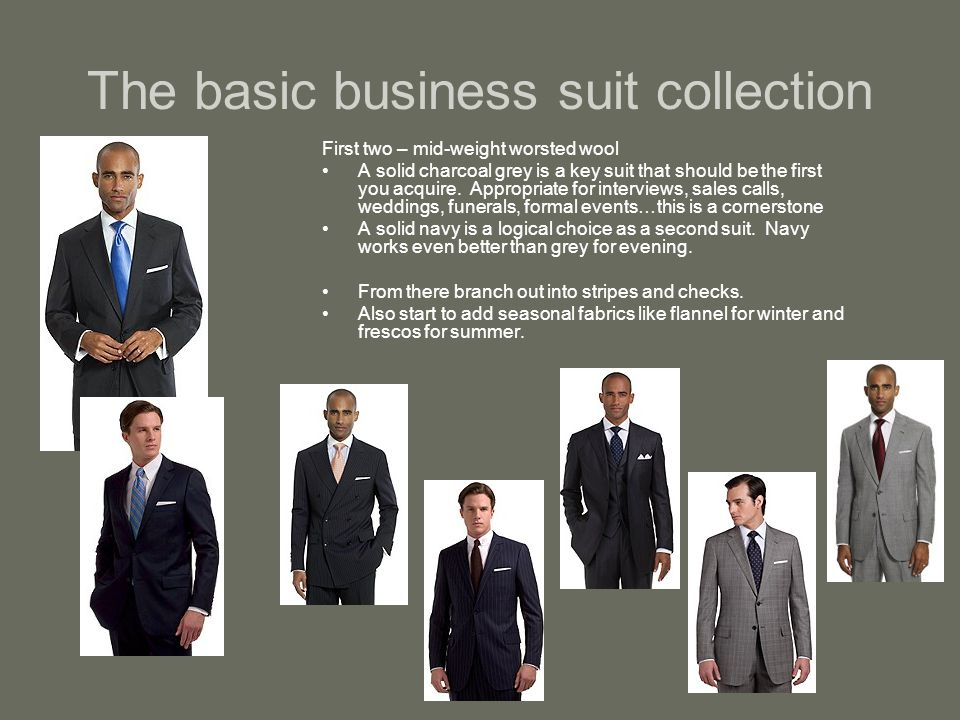 The basic business suit collection First two – mid-weight worsted wool A solid charcoal grey is a key suit that should be the first you acquire.