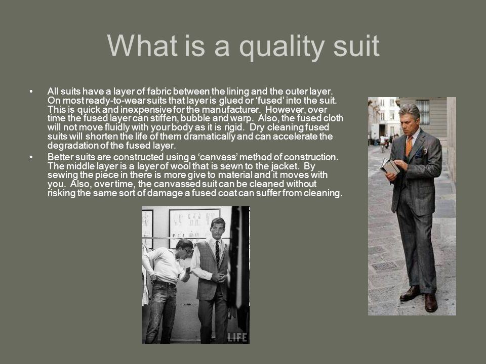 What do you want in a business suit.