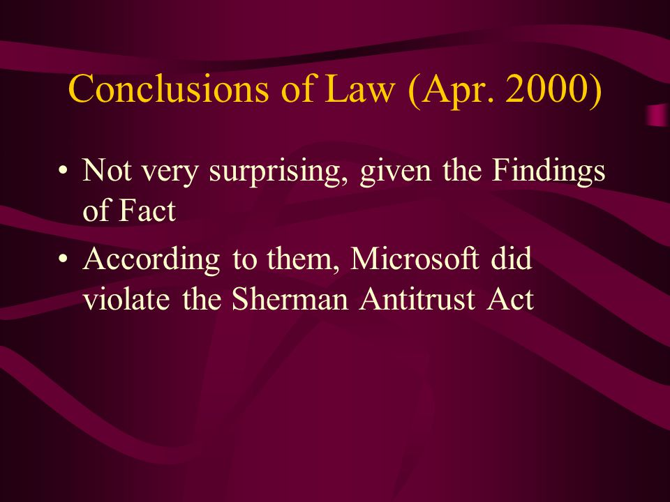 Conclusions of Law (Apr.
