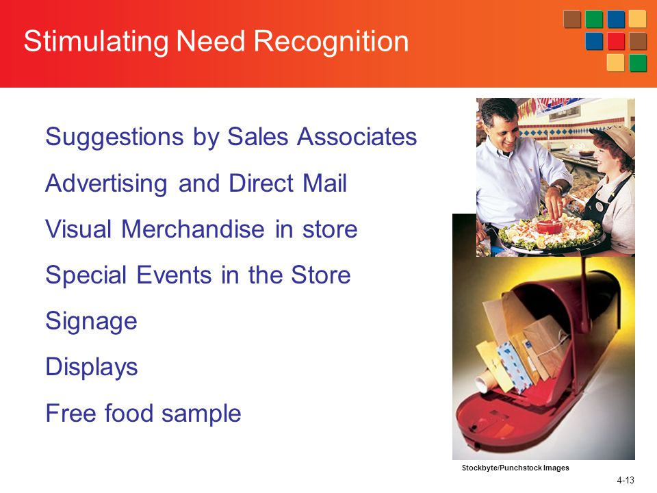 4-13 Stimulating Need Recognition Suggestions by Sales Associates Advertising and Direct Mail Visual Merchandise in store Special Events in the Store Signage Displays Free food sample Stockbyte/Punchstock Images