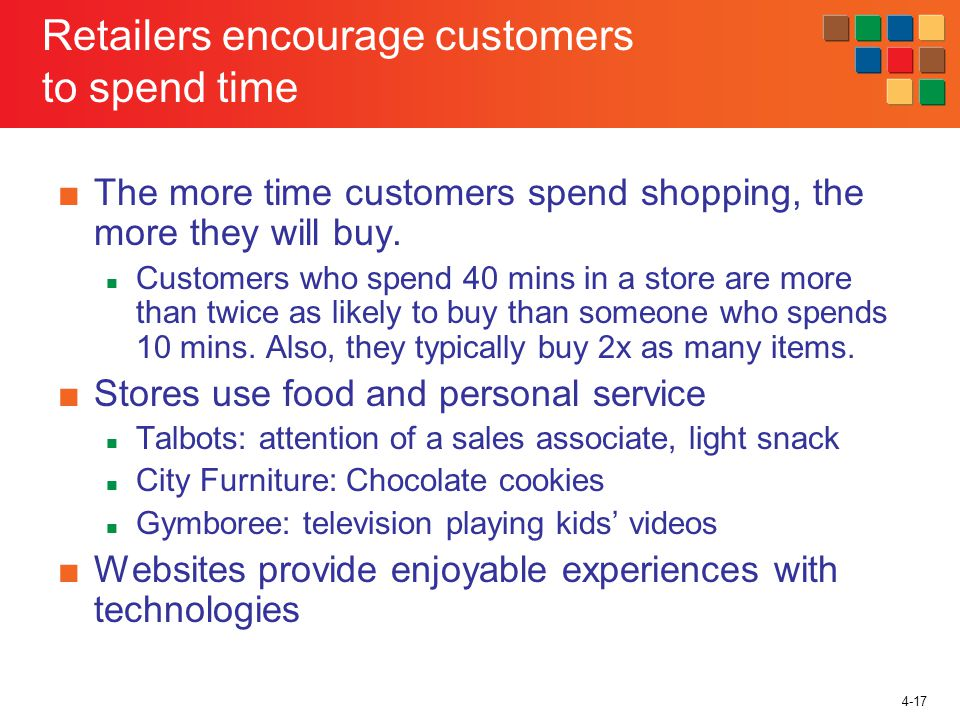 4-17 Retailers encourage customers to spend time The more time customers spend shopping, the more they will buy.