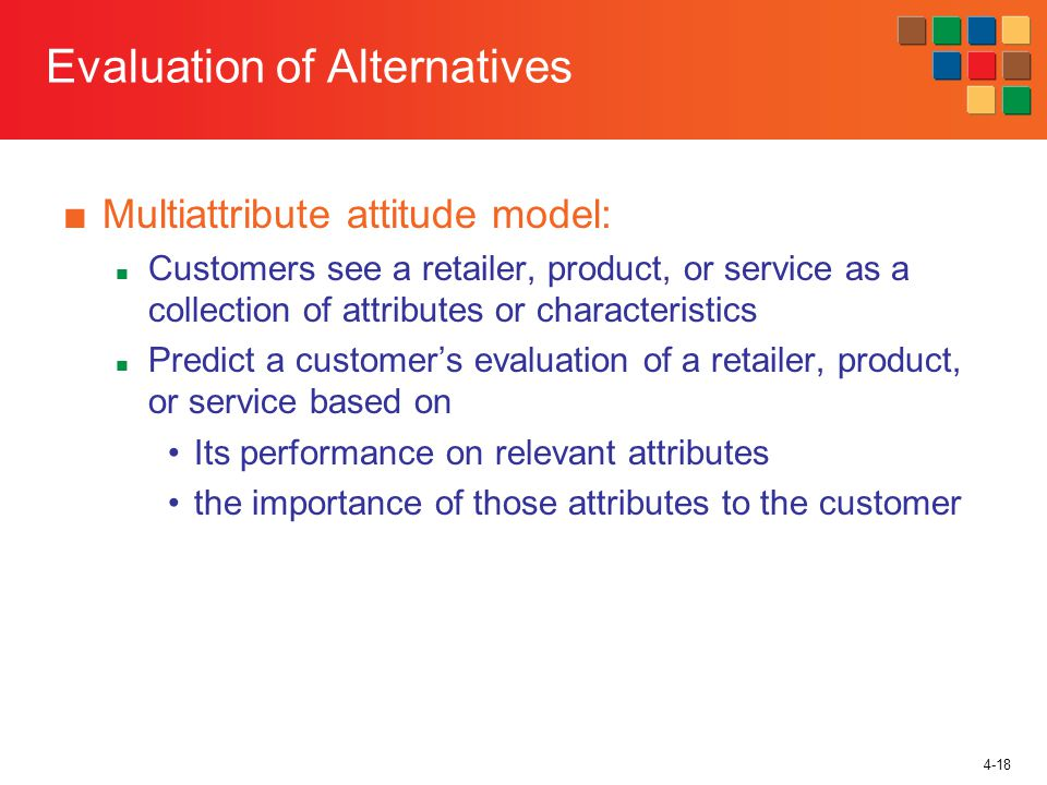 4-18 Evaluation of Alternatives Multiattribute attitude model: Customers see a retailer, product, or service as a collection of attributes or characte