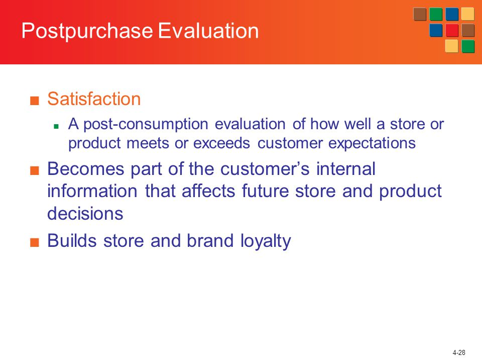 4-28 Postpurchase Evaluation Satisfaction A post-consumption evaluation of how well a store or product meets or exceeds customer expectations Becomes part of the customers internal information that affects future store and product decisions Builds store and brand loyalty