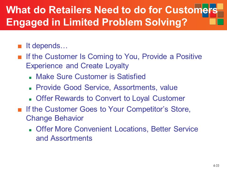 4-33 It depends… If the Customer Is Coming to You, Provide a Positive Experience and Create Loyalty Make Sure Customer is Satisfied Provide Good Service, Assortments, value Offer Rewards to Convert to Loyal Customer If the Customer Goes to Your Competitors Store, Change Behavior Offer More Convenient Locations, Better Service and Assortments What do Retailers Need to do for Customers Engaged in Limited Problem Solving
