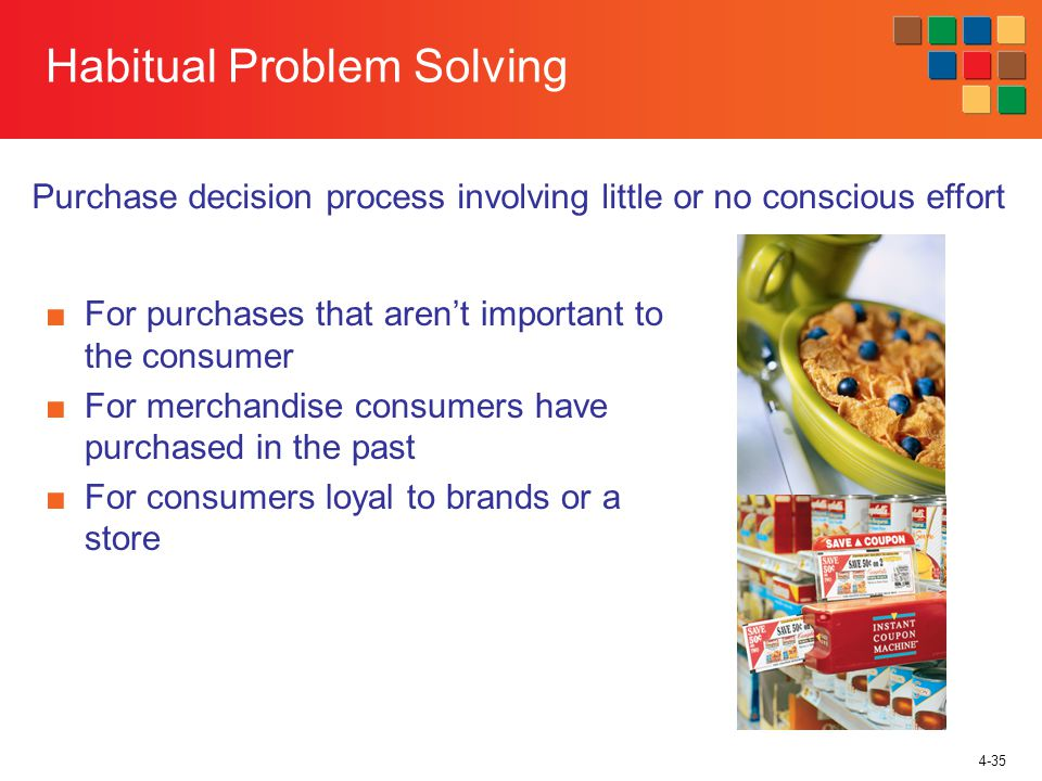 4-35 Habitual Problem Solving For purchases that arent important to the consumer For merchandise consumers have purchased in the past For consumers loyal to brands or a store Purchase decision process involving little or no conscious effort