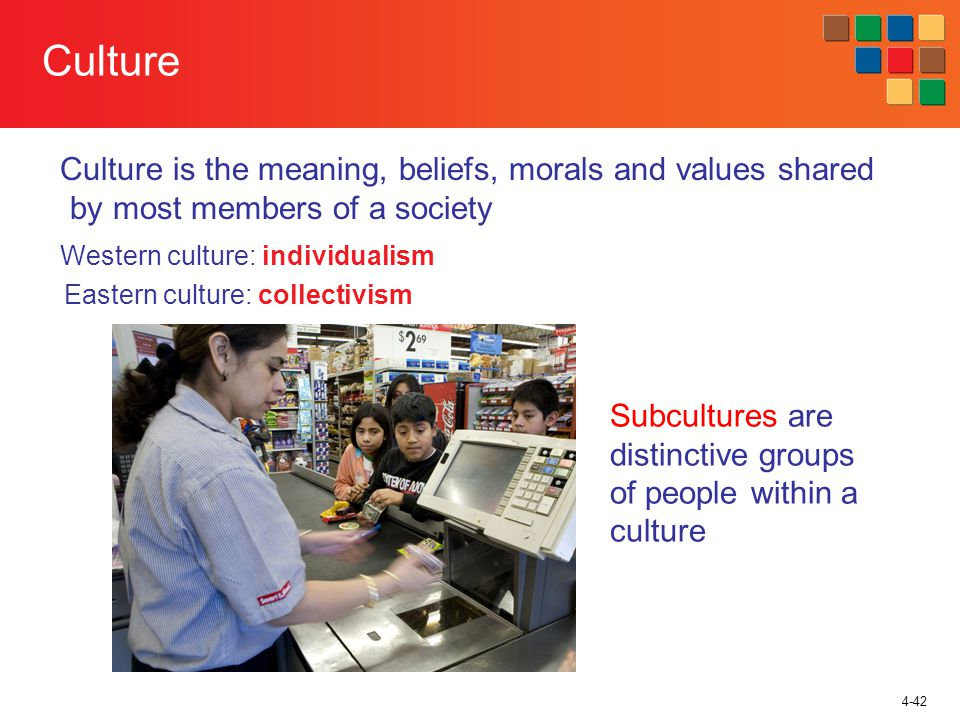 4-42 Culture Culture is the meaning, beliefs, morals and values shared by most members of a society Western culture: individualism Eastern culture: collectivism Subcultures are distinctive groups of people within a culture