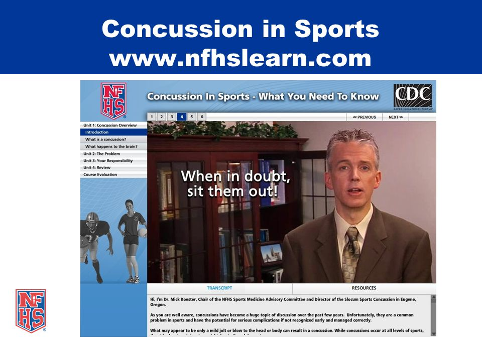 Concussion in Sports www.nfhslearn.com
