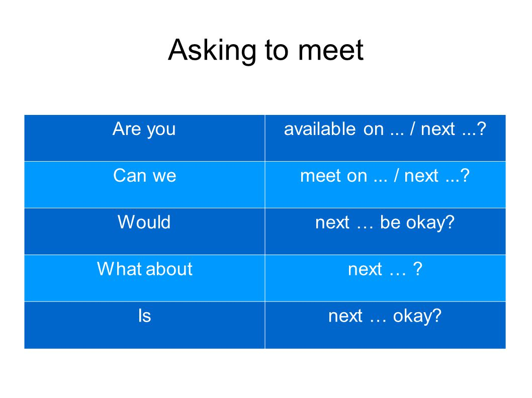 Asking to Meet (Examples) Are you available on the 17th at 3 pm? Can we meet on the 16th? How does the 3rd sound to you? Are you free next week? Would Friday suit you? Is next Tuesday convenient for you? What about sometime next week? Would Monday afternoon be okay?