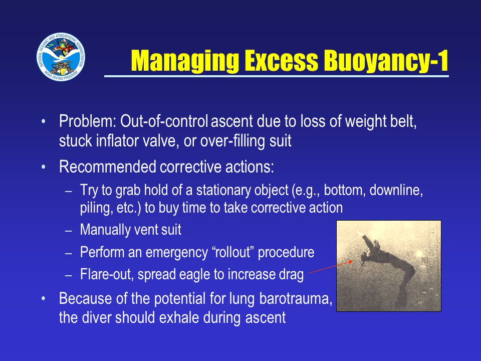 Managing Excess Buoyancy-1 Problem: Out-of-control ascent due to loss of weight belt, stuck inflator valve, or over-filling suit Recommended corrective actions: – Try to grab hold of a stationary object (e.g., bottom, downline, piling, etc.) to buy time to take corrective action – Manually vent suit – Perform an emergency rollout procedure – Flare-out, spread eagle to increase drag Because of the potential for lung barotrauma, the diver should exhale during ascent