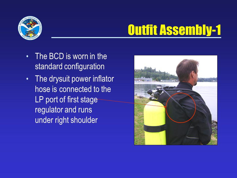Outfit Assembly-1 The BCD is worn in the standard configuration The drysuit power inflator hose is connected to the LP port of first stage regulator and runs under right shoulder