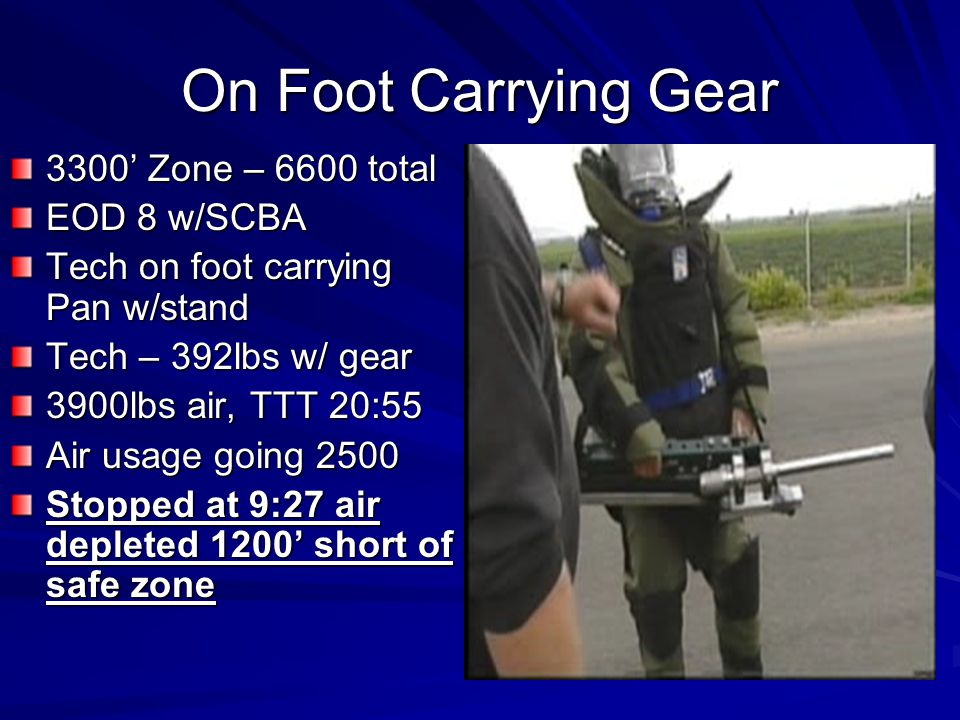 On Foot Carrying Gear 3300 Zone – 6600 total EOD 8 w/SCBA Tech on foot carrying Pan w/stand Tech – 392lbs w/ gear 3900lbs air, TTT 20:55 Air usage going 2500 Stopped at 9:27 air depleted 1200 short of safe zone