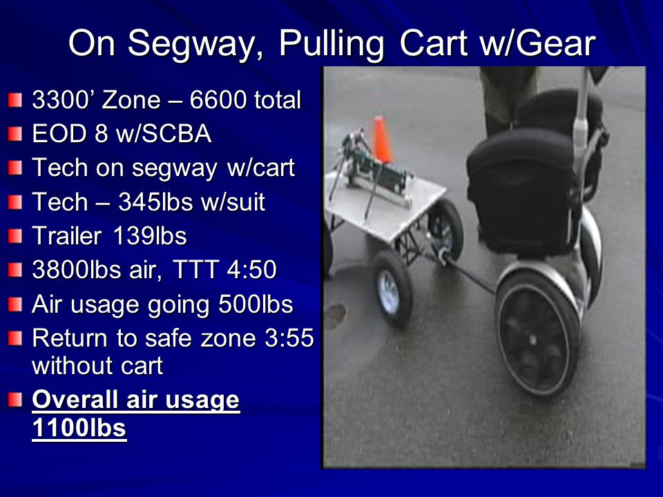 On Segway, Pulling Cart w/Gear 3300 Zone – 6600 total EOD 8 w/SCBA Tech on segway w/cart Tech – 345lbs w/suit Trailer 139lbs 3800lbs air, TTT 4:50 Air usage going 500lbs Return to safe zone 3:55 without cart Overall air usage 1100lbs