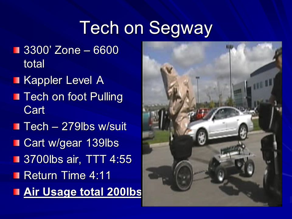 Tech on Segway 3300 Zone – 6600 total Kappler Level A Tech on foot Pulling Cart Tech – 279lbs w/suit Cart w/gear 139lbs 3700lbs air, TTT 4:55 Return Time 4:11 Air Usage total 200lbs