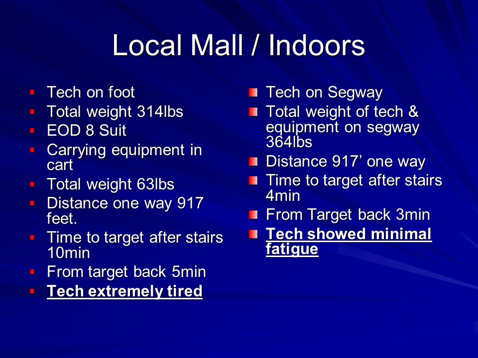 Local Mall / Indoors Tech on foot Tech on foot Total weight 314lbs Total weight 314lbs EOD 8 Suit EOD 8 Suit Carrying equipment in cart Carrying equipment in cart Total weight 63lbs Total weight 63lbs Distance one way 917 feet.
