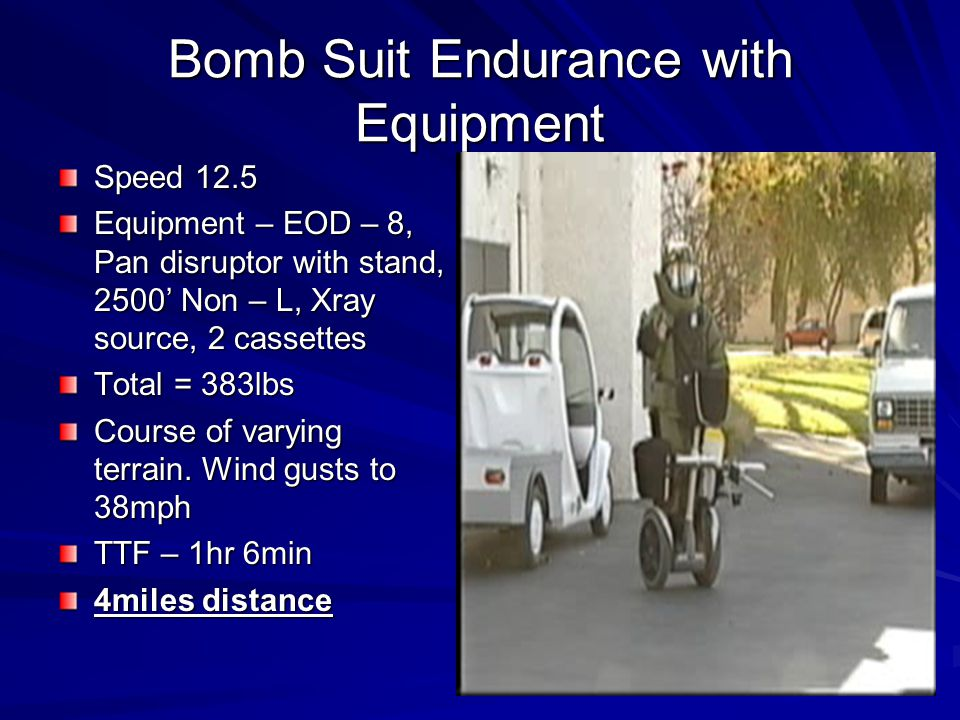 Bomb Suit Endurance with Equipment Speed 12.5 Equipment – EOD – 8, Pan disruptor with stand, 2500 Non – L, Xray source, 2 cassettes Total = 383lbs Course of varying terrain.