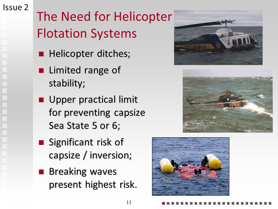 The Need for Helicopter Flotation Systems Helicopter ditches; Helicopter ditches; Limited range of stability; Limited range of stability; Upper practical limit for preventing capsize Sea State 5 or 6; Upper practical limit for preventing capsize Sea State 5 or 6; Significant risk of capsize / inversion; Significant risk of capsize / inversion; Breaking waves present highest risk.