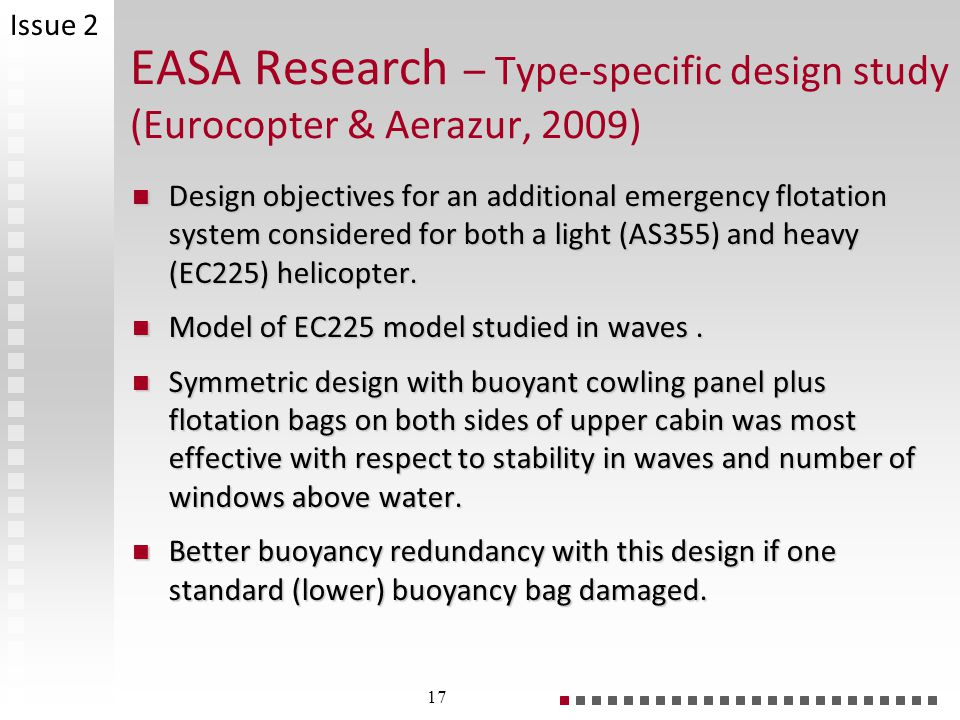 EASA Research – Type-specific design study (Eurocopter & Aerazur, 2009) Design objectives for an additional emergency flotation system considered for both a light (AS355) and heavy (EC225) helicopter.