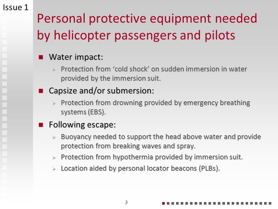 Personal protective equipment needed by helicopter passengers and pilots Water impact: Water impact: Protection from cold shock on sudden immersion in water provided by the immersion suit.