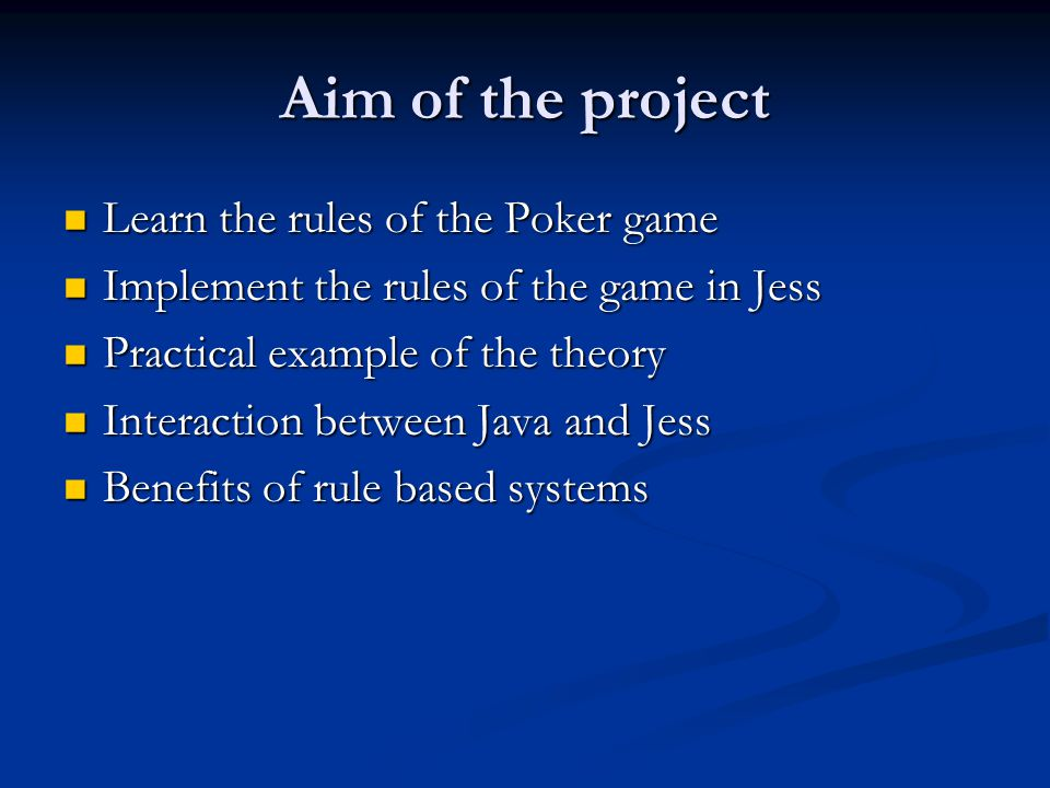 Structure of the program Java Applet for Graphical User Interface Java Applet for Graphical User Interface Jess for implementing the rules of the game Jess for implementing the rules of the game
