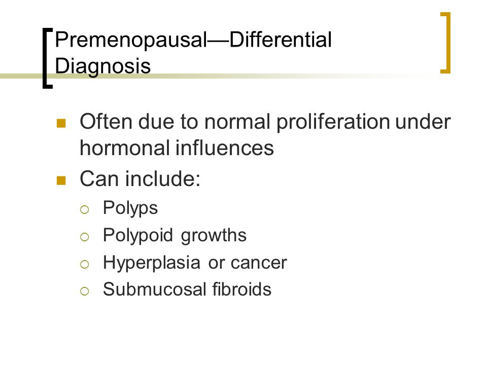 Result: Postmenopausal group Of the 7 women with pathologic findings: 1 with complex hyperplasia without atypia 6 women with cancer Average endometrial thickness 20.3 mm Range 13.63 mm to 37 mm
